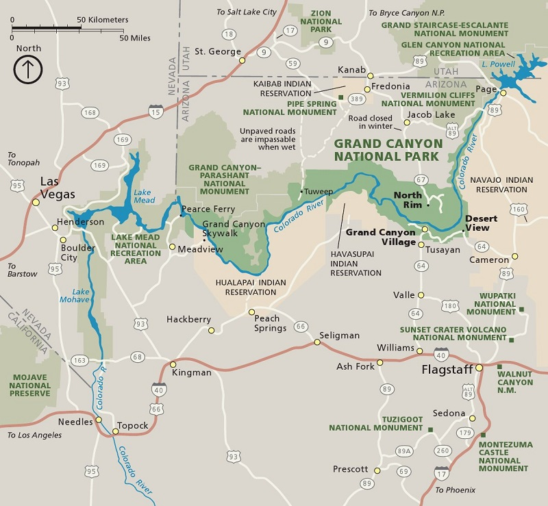 map of Grand CANYON 800x0